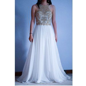 White and Gold Sequin Formal Party Prom Dress